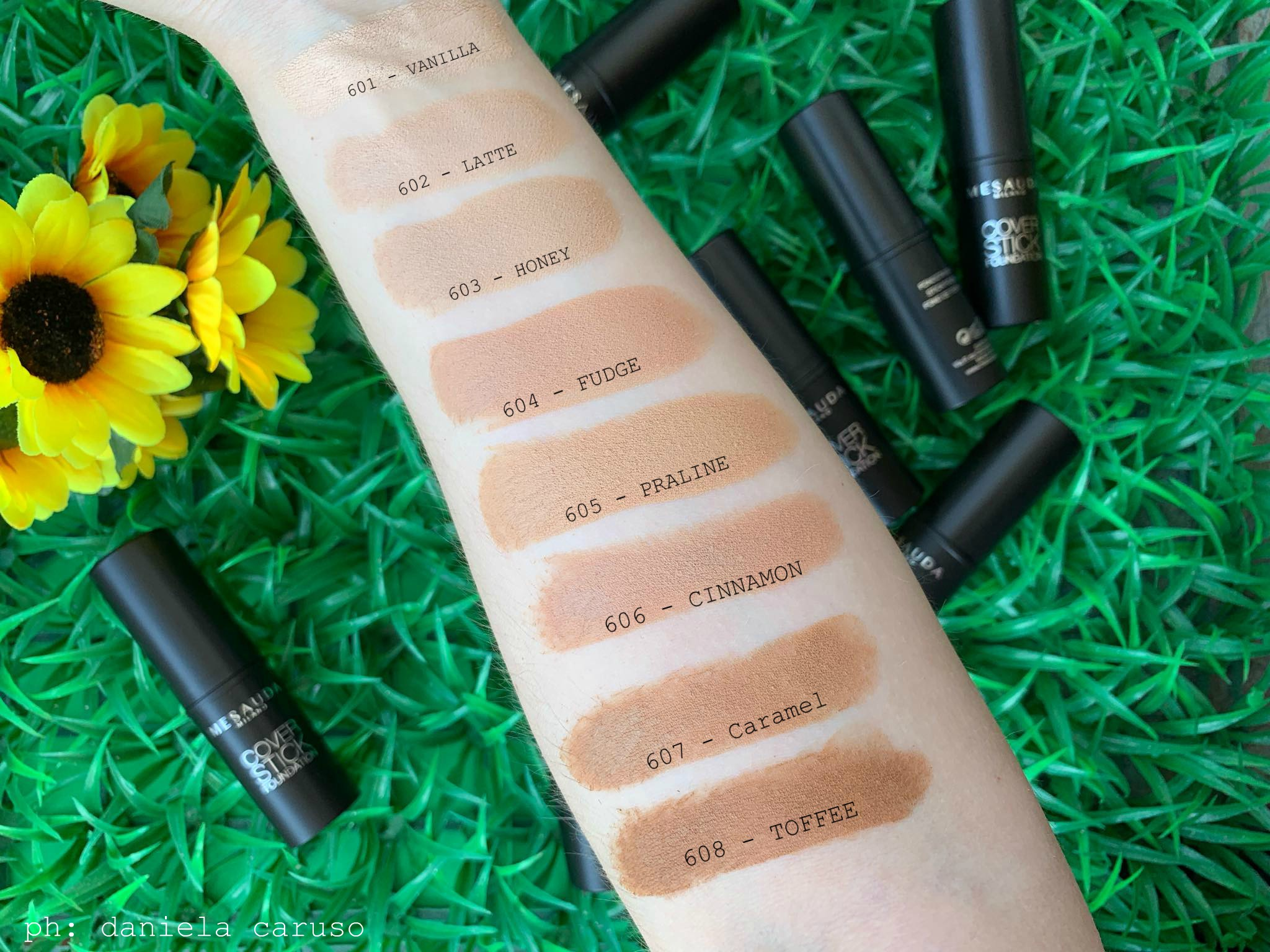 mesauda milano cover foundation stick 5 swatches