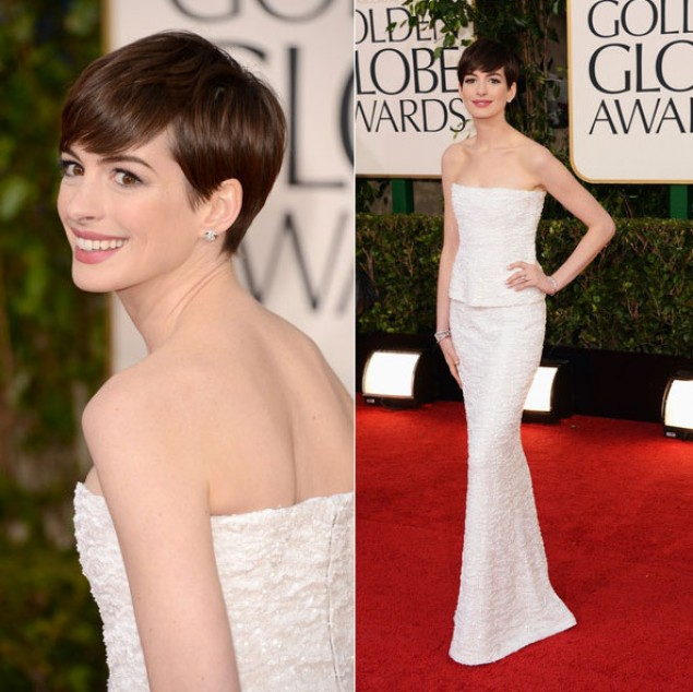 Golden globe 2013: Anne Hathaway in bianco